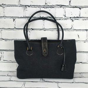 J Crew Leather & Gray Tweed Bag Like New